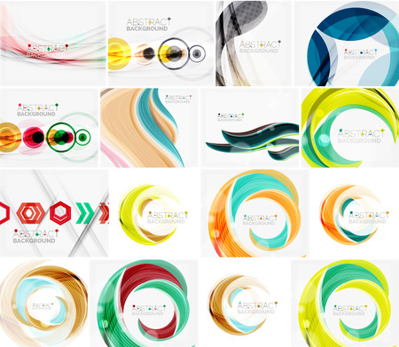 swirl: Set of abstract backgrounds. Circles, swirls and waves with copyspace for your message. Banner advertising layouts - templates, identity and wallpapers