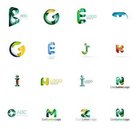 any: Set of colorful abstract letter corporate  made of overlapping flowing shapes. Universal business icons for any idea or concept. Business, app, web design symbol template
