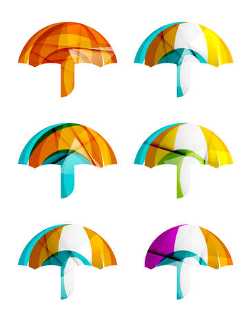 business protection: Set of abstract umbrella icons, business protection concepts, clean modern geometric design. Created with transparent abstract wave lines Illustration