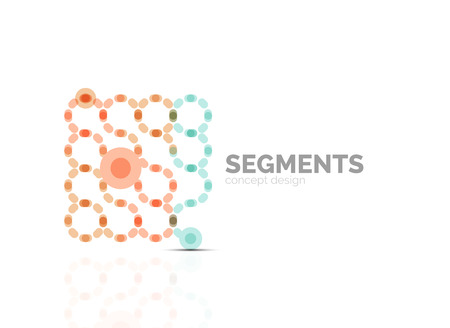 segments: Outline minimal abstract geometric, linear business icon made of line segments, elements. Vector illustration