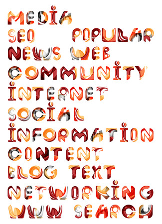 www community: Social media in the internet - words, tags. Flowing wave design of letters