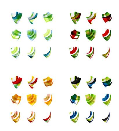 shield: Conjunto de dise�os de marca logotipo de la empresa, iconos concepto de protecci�n escudo aislado en blanco Vectores
