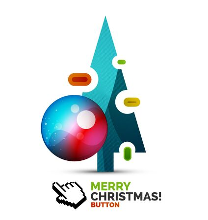 blank template: Christmas decorated internet button.. Holiday icon concept. Vector illustration