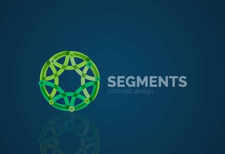bordes decorativos: Esquema logo m�nima abstracto geom�trico, icono empresarial lineal hecha de segmentos de l�nea, elementos. Ilustraci�n vectorial
