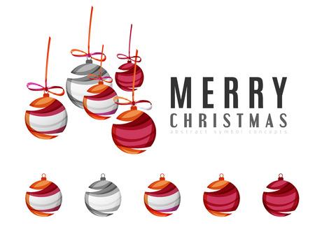 Conjunto de iconos abstractos de bolas de Navidad, logotipo de conceptos, diseño geométrico moderno limpio. Creado con las líneas abstractas transparentes Foto de archivo - 47618871