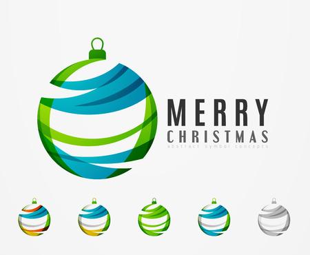 Set di astratto icone di Natale palla, logo aziendale concetti, pulito disegno geometrico moderno. Creato con linee astratte trasparenti