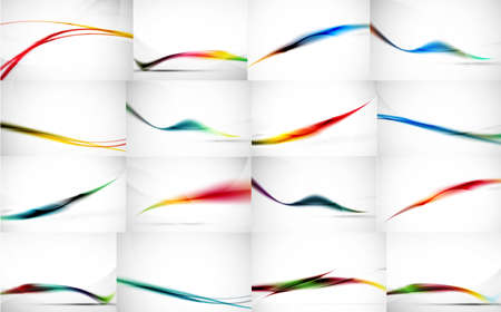blurred motion: Set of wave flowing blurred motion abstract backgrounds. Smooth futuristic line layouts. Business, technology message, presentation or identity. Vector illustration