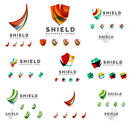 protection icon: Set of company logotype branding designs, shield protection concept icons isolated on white