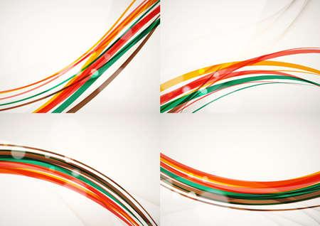 arco iris: Conjunto de fondos abstractos. L�neas de onda de la curva con efectos de luz y sombra, rayas estilo arco iris y bengalas Vectores
