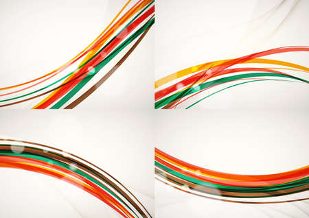 rainbow: Set of abstract backgrounds. Curve wave lines with light and shadow effects, rainbow style stripes and flares