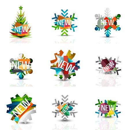 Set of snowflake icons with text labels. Christmas tags concept for your message. Vector illustration