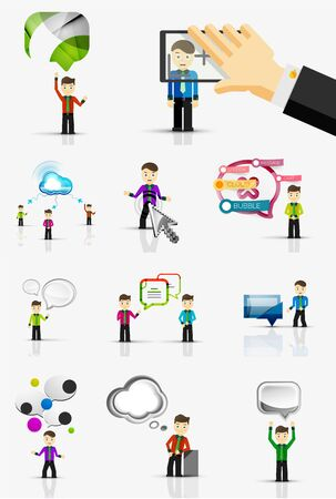 race relations: Set of young businessmen with speech bubbles. Vector illustration