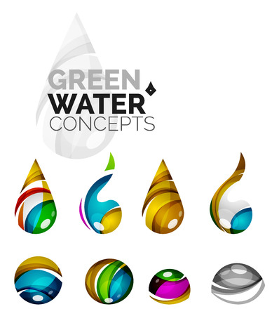 distilled: Set of abstract eco water icons, business  nature green concepts, clean modern geometric design. Created with transparent abstract wave lines Illustration