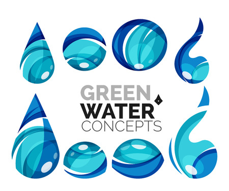 distilled water: Set of abstract eco water icons, business  nature green concepts, clean modern geometric design. Created with transparent abstract wave lines Illustration