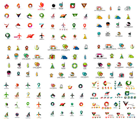 logos de empresas: Mega conjunto de logotipos geomeric empresa. Visita corporativas elementos de diseño de la marca. Cartas vectoriales y formas abstractas