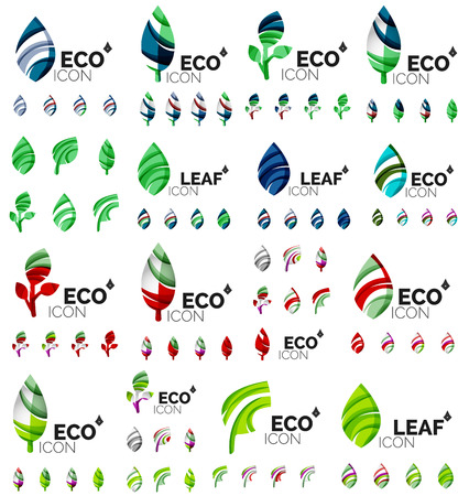 compositions: Mega collection of vector green summer concepts - leaves compositions, plants. Various futuristic colors colors, vector illustration