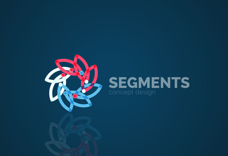 segments: Outline minimal abstract geometric , linear business icon made of line segments, elements. illustration