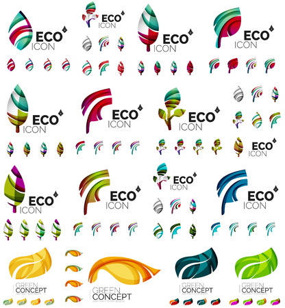 compositions: Mega collection of green summer concepts - leaves compositions, plants. Various futuristic colors colors, illustration