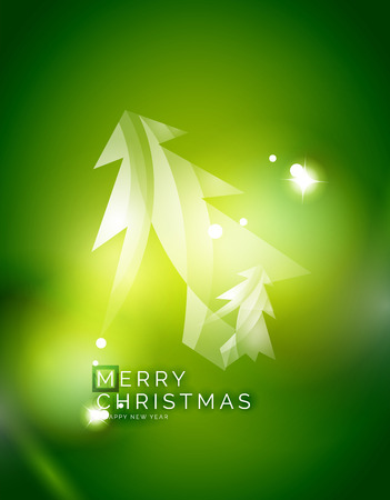 holiday background: Christmas tree, green shiny abstract background. Vector holiday illustration Illustration