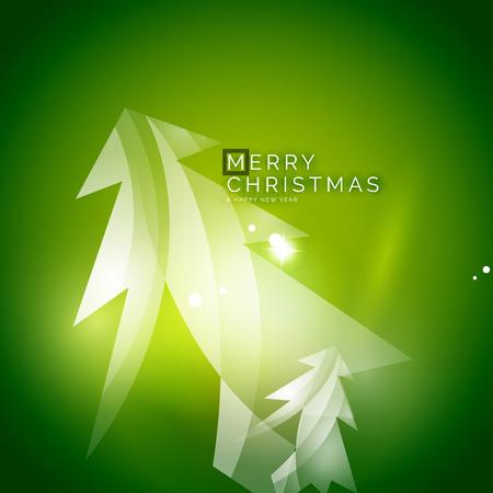 christmas tree illustration: Christmas tree, green shiny abstract background. Vector holiday illustration Illustration
