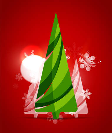 holiday background: Christmas tree, red shiny abstract background. Vector holiday illustration Illustration