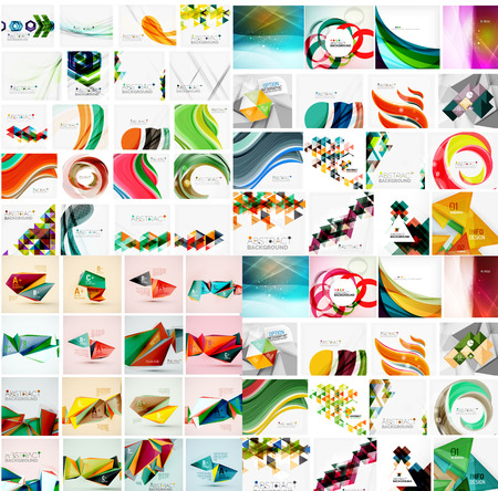 huge: Huge mega collection of abstract geometric paper graphic layouts. Universal backgrounds, presentation templates or web covers. Vector illustration