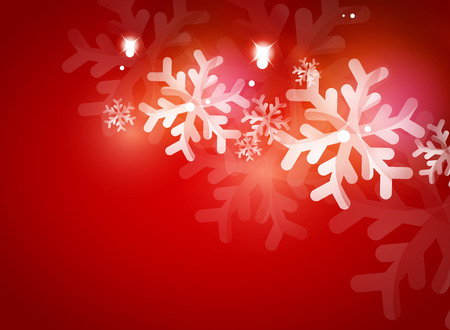 Holiday red abstract background, winter snowflakes, Christmas and New Year design template, light shiny modern vector illustration Vectores