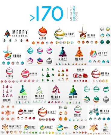 set symbols: Mega set of Christmas Logos. Abstract Christmas tree, snow and ball icon set. Vector illustration, icons and logotypes of winter and New Year