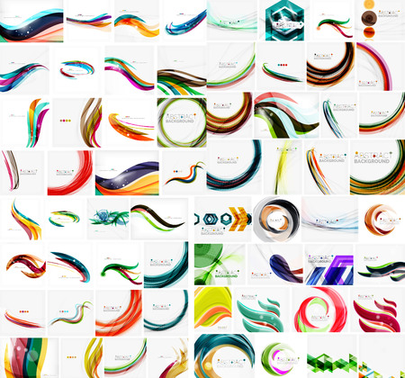 Mega collection of wave abstract backgrounds with copy space. For business tech design templates, web design, presentations. Vector illustration Illustration