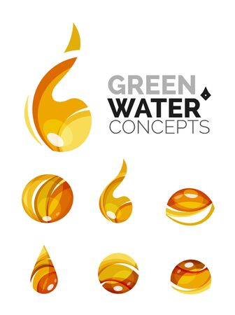distilled: Set of abstract eco water icons Illustration