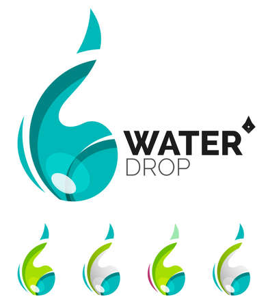 distilled water: Set of abstract eco water icons Illustration