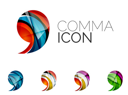 comma: Set of abstract comma icon