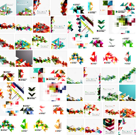 presentation background: Huge mega collection of abstract geometric paper graphic layouts. Universal backgrounds, presentation templates or web covers. Vector illustration