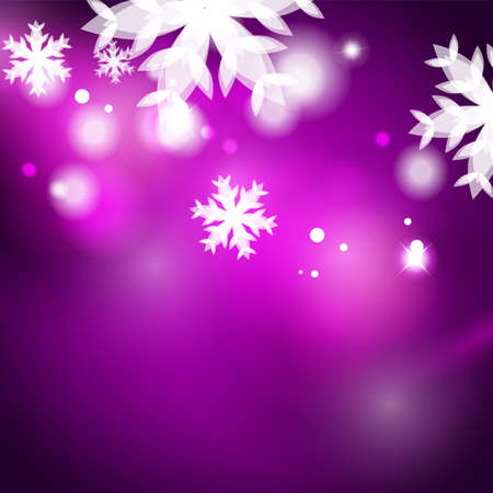 snowflake background: Holiday purple abstract background, winter snowflakes, Christmas and New Year design template, light shiny modern vector illustration