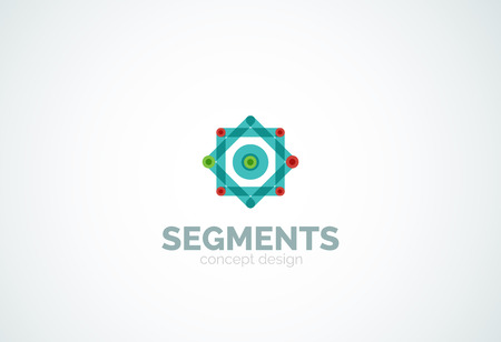 segments: Outline minimal abstract geometric , linear business icon made of line segments, elements. Vector illustration Illustration