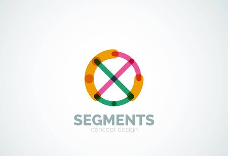 segments: Outline minimal abstract geometric, linear business icon made of line segments Illustration