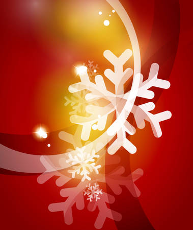 christmas star background: Red Christmas snowflakes abstract background. Vector illustration for your message Illustration