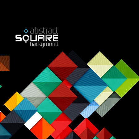 green and black: Glossy color squares on black. Geometric abstract background for your message. Vector Illustration