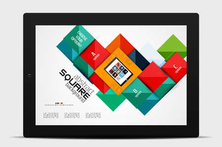 Geometric square shapes and infographic option elements with tablet. Vector illustration