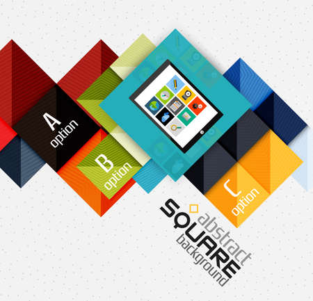 quadrat: Geometric square shapes and infographic option elements with tablet. Vector illustration