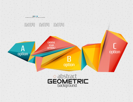 design abstract: Abstract info banner with options, geometric paper style. Vector illustration