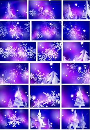 blue  backgrounds: Blue shiny Christmas abstract backgrounds. Set of illustrations, vector