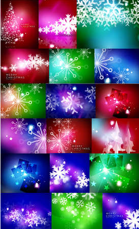 blizzards: Set of shiny color Christmas backgrounds with white snowflakes and trees. Vector illustration