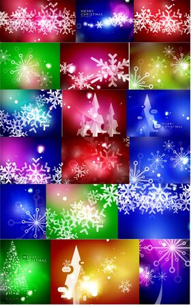 christmas backgrounds: Set of shiny color Christmas backgrounds with white snowflakes and trees. Vector illustration