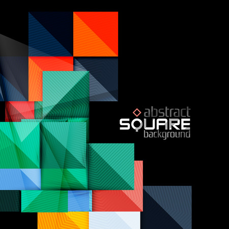 square button: Glossy color squares on black. Geometric abstract background for your message. Vector Illustration