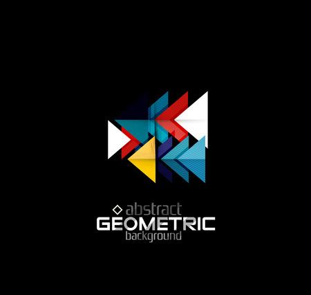 grid: Vector color geometric shapes on black background. Illustration