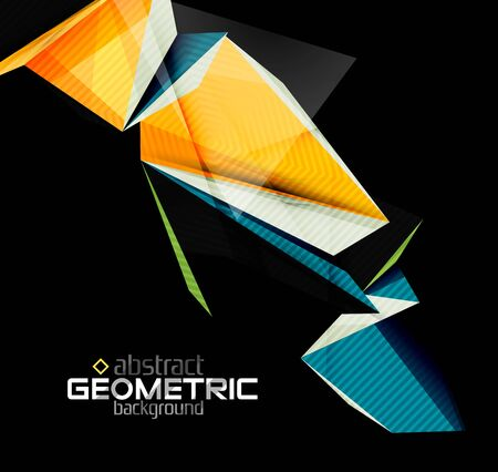Vector color geometric shapes on black background. Illustration