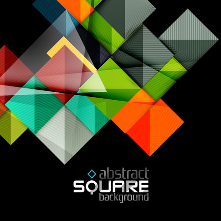 Glossy color squares on black. Geometric abstract background for your message. Vector Vettoriali
