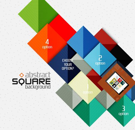tablet vector: Geometric square shapes and infographic option elements with tablet. Vector illustration
