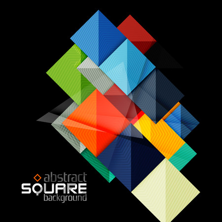 squares background: Glossy color squares on black. Geometric abstract background for your message. Vector Illustration